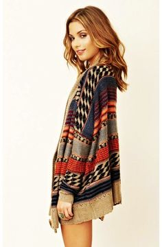 Tribal Oversized Cardigan Sweater - Oversized Cardigan Sweater For Women