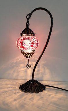 Pink Turkish & Stylish Boho mosaic lamp with hand crafted copper base