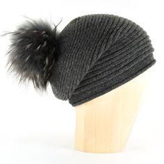 ac1a60ad51212 Horizontal Knit Pompon Beanie- ANTHRACITE Cashmere Beanie