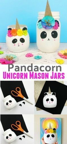 This panda unicorn mason jar craft is a great craft for kids. You only need a few items to make these magical mason jars. Use the finished panda unicorn mason jars to hold arts supplies or use them as decoration in a room, classroom or craft space. Wine Bottle Crafts, Mason Jar Crafts, Mason Jar Diy, Chalk Paint Mason Jars, Painted Mason Jars, Diy Home Decor Projects, Diy Projects To Try, Art Projects, Camping La Marina
