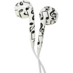 MiCase Music Note Print Earbuds | Hot Topic ($8.50) ❤ liked on Polyvore featuring accessories, music, headphones, electronics and tech