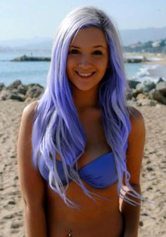 purple hair....not my color in particular, but really pretty on this chick.