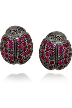 Ileana Makri, ladybird 18-karat white gold ruby earrings