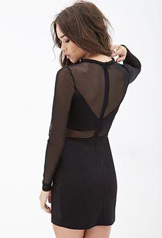 Mesh Paneled Bodycon Dress | FOREVER 21 - 2000120867