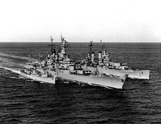 US Navy destroyer Buck, battleship Wisconsin, and heavy cruiser Saint Paul off Korea, 22 Feb 1952, photo 1 of 2