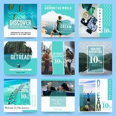 Social media post templates for travel Premium Vector