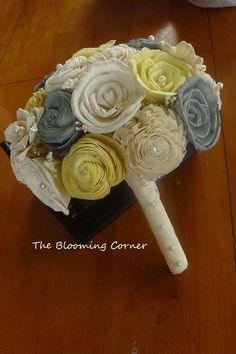 Wedding Bouquet Sola wood Bouquet Gray Yellow by TheBloomingCorner,