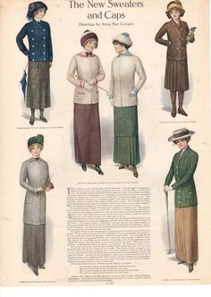 1915 Ladies Home Journal Print- New Sweaters and Caps for Spring
