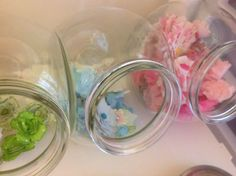 Here is another view of the candy jars full of flowers.