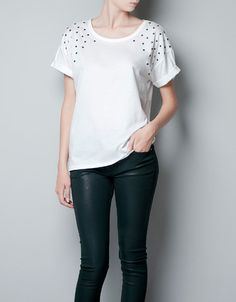 T-SHIRT WITH STAR SHOULDERS - T-shirts - Woman - ZARA United States