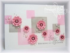 I made a couple of masks with post-it-notes using Spellbinders Nestabilities Squares Large and Small, then sponged inside with both pink and gray ink. The flowers were made with different sized punches, layering them up, and topping with pearls. The sentiment is one of my favourites for a thank you card, from Papertrey Ink's Signature Greetings.