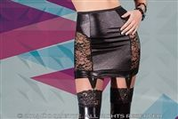 Wet Look Lace Paneled Skirt