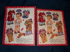 2 Vintage Valentine Cut out paper doll cards uncut A-Meri-Card USA from madamejezabellesdollsandantiques on Ruby Lane