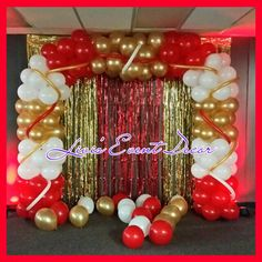 Red Gold and White Balloon Arch