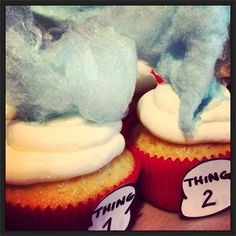 Dr. Suess Thing 1 and Thing 2 Cupcakes. Things are getting crazy at Sweet Sanctions Bakery : Happy Birthday Dr. Suess! You have provided a lifetime of memories and continue to share them with our children! Visiit  http://www.sweetsanctions.com/Custom-Photos.html# or email info@Sweetsanctions.com for details on how we can help make your special event in Central Pennsylvania an unforgettable and fabulous memory.