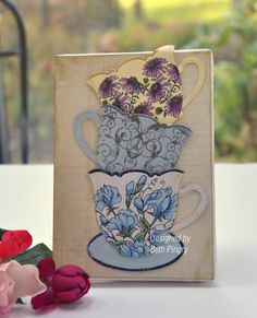#Spellbinders Nested Tea Cups and #Flourishes stamps