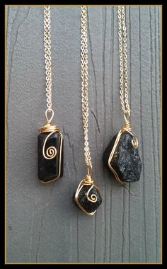 Black Tourmaline Boho Grunge Hippie Crystal Rock Charm Choker Chain Necklaces necklace layering healing positive power  wire