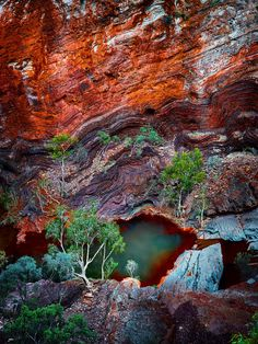 Hamersley Gorge Karijini,Australia by Christian Fletcher. Dramatic colours, reflections and waterfalls make Hamersley gorge on not to be misssed. Situated on the North West edge of Karijini National Park it boast changing colour and geological landscapes. Landscape Photos, Landscape Photography, Nature Photography, Kakadu National Park, National Parks, Western Australia, Australia Travel, Beautiful World, Beautiful Places