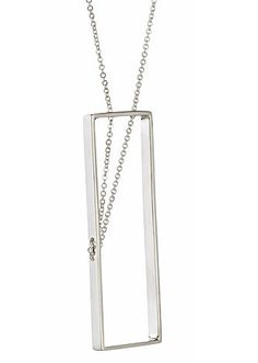 A new twist on the signature Inner Circle Collection, these elegant rectangles are hand crafted in sterling silver and then strung with chain through precisely drilled holes to form the abstract patterns within. As shown rectangle measures 2 x 3/4 inches in diameter, necklace chain measures 17 inches. Please inquire about custom chain lengths. Requests are gladly accommodated whenever possible. Made by hand in San Francisco. * Our artisan jewelry pieces are handcrafted to order and generally…