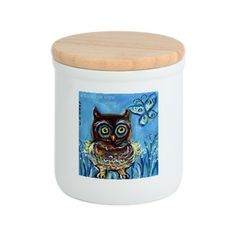 Baby owl butterfly Cookie Jar
