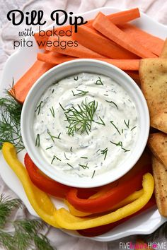 Dreamy Dill Dip with Baked Pita Wedges ~ simple and delicious, this dip features a base of Greek yogurt and sour cream flavored with fresh dill, making it perfect for a variety of dippers, from crunchy veggies to pita chips. Dill Dip Recipes, Raw Food Recipes, Veggie Recipes, Vegetarian Recipes, Cooking Recipes, Healthy Recipes, Fresh Dill Dip Recipe, Yummy Recipes, Cheese