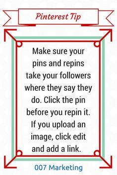 #PinterestTipoftheDay Before you repin, click the pin to see whether it takes you where it says it does. #PinterestTip Click the image to see more tips like this one