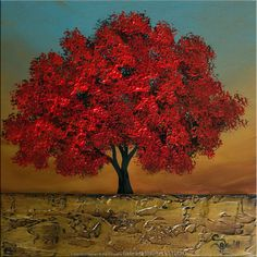 Moderno abstracto con textura Original paisaje árbol por Catalin
