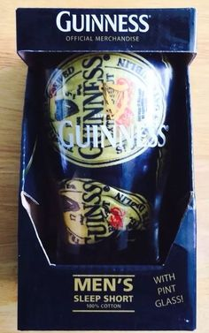 Guinness Beer Pint Glass New In Box W/Men's Sm Sleep Boxer Shorts