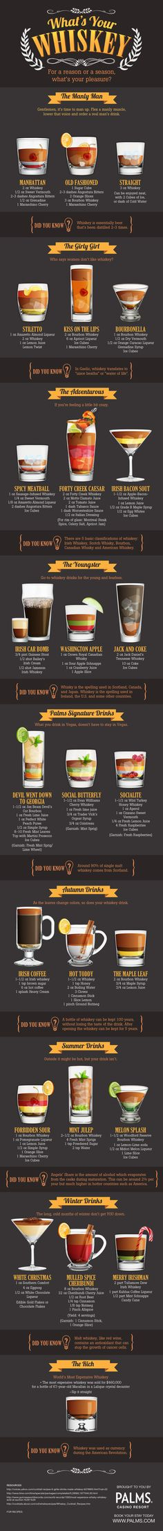 Palm's Casino Resort Whiskey Infographic by Pam Brown {dezinegirl}, via Behance
