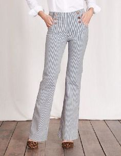 #Boden Southampton Sailor Jeans Ticking Stripe Women #Get nautical with these naval-inspired sailor jeans. Made from stretch denim with a relaxed leg and stylish button detailing, theyre the perfect fashion-function combo. Add a Breton stripe tee to keep up the sailing theme, or add glam heels and a statement necklace for dinner with the girls. Now, wheres that yacht?