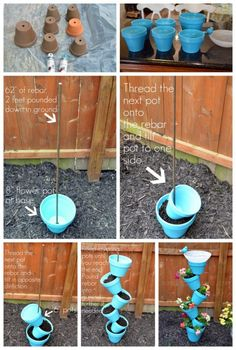 Build this beautiful Topsy Turvy planter and bird bath to build the garden . - Build this beautiful Topsy Turvy planter and bird bath to decorate the garden # Build - Garden Yard Ideas, Garden Crafts, Diy Garden Decor, Garden Planters, Garden Projects, Diy Projects, Garden Decorations, Vegetable Planters, Clay Pot Projects
