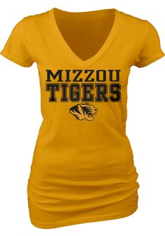Missouri Tigers Womens Gold My Team V-Neck T-Shirt