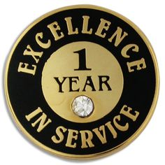 PinMart's Plated Excellence in Service Enamel Lapel Pin w/ Rhinestone - 1 Year - C911Q3SV6LR - Brooches & Pins  #jewellrix #Brooches #Pins #jewelry #fashionstyle
