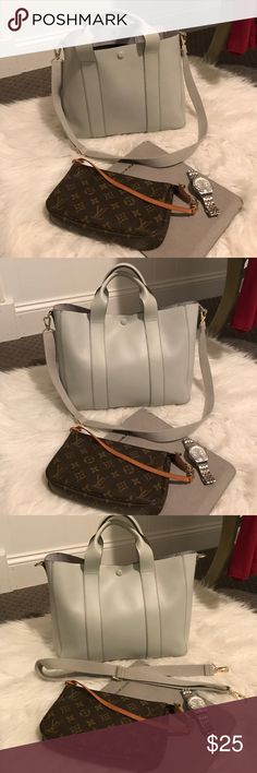 All leather Gap tote Gray, wear open or snapped, has handles and removable cross body straps. Classic and in very good used condition only flaw is some marking on bottom of inside bag, not very noticeable as seen in last picture. GAP Bags Totes