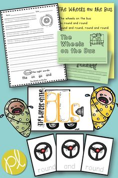 The wheels on the bus go round and round! Familiar songs and poems are such an effective teaching tool for early readers. This hands-on activity packet will support your kindergarten and first grade students. Add these to your small Guided reading groups and centers! #wheelsonthebus #childrenssongs