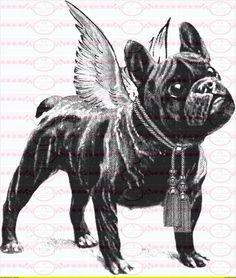 1 Vintage french Bulldog Bügelbild Shabby A4 Nr. 2 von Doreen`s Bastelstube - Kreativ & Außergewöhnlich auf DaWanda.com