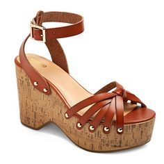 Women's Erie Wood Flatform Wedge Sandals Mossimo Supply Co