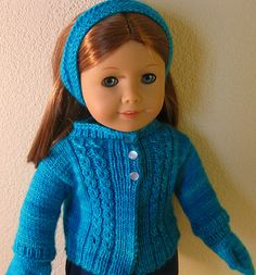 Ravelry: Mock Cable Cardi for Amelia pattern by Robin Lynn Free, bottom up, in round, Fingering yarn, Photo tutorial Knitting Dolls Clothes, Ag Doll Clothes, Crochet Doll Clothes, Sewing Dolls, Knitted Dolls, Doll Clothes Patterns, Diy Clothes, Doll Patterns, Knitting Patterns