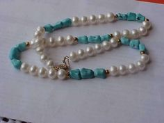 Vintage 14k Yellow Gold Turquoise Gold Beads Pearl Jewelry $857
