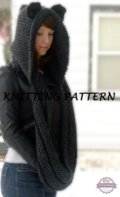 Hooded Cowl Knitting Pattern, Cat Cowl Knit Pattern Cat Ears Hooded Infinity Scarf Knitting Pattern, Knit Hooded Animal Scarf Pattern Cat Beanie Hat Pattern