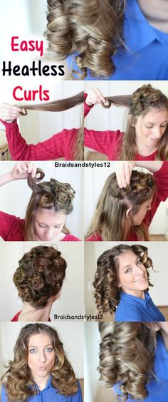 4 Easy Overnight Heatless Curl Methods. Heatless Curl Techniques by Braidsandstyles12 Tutorial: https://www.youtube.com/watch?v=O7zx25LCfBw: