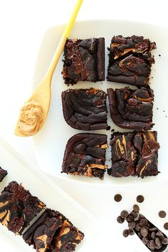 Vegan & GF Peanut Butter Swirl Black Bean Brownies!