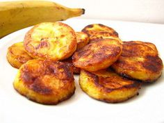Fried plantain bananas. I ate these almost daily in Cote D'Ivoire, West Africa. They are served with a pepper and fish sauce with a hard-boiled egg. The combination sounds odd, but it's delicious!!