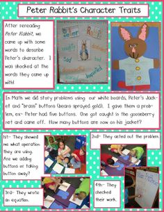 The Tale of Peter Rabbit Character Review ideas from the Golden Gang Kindergarten