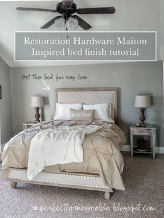 Restoration Hardware finish tutorial for Maison Inspired bed. Fabulous tutorial for the upholstery and wood finish.