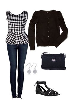 #ootd business casual outfit skinny jeans, checkered peplum tank top, black cardigan, thick strappy sandals, Kenneth Cole reaction bag, silver accentsI