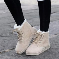 Womens Winter Warm Casual Faux Suede Fur Lace-up Ankle Boots Snow Boots Shoes - cosas que quiero - Timberland Boots Outfit, Ugg Boots, Shoe Boots, Winter Snow Boots, Winter Shoes, Outfit Winter, Lace Up Ankle Boots, Knee High Boots, Calf Boots