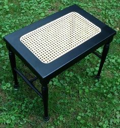 Vintage Cane Bench Updone in Black  $55 - Medfield http://furnishly.com/catalog/product/view/id/5915/s/vintage-cane-bench-updone-in-black/