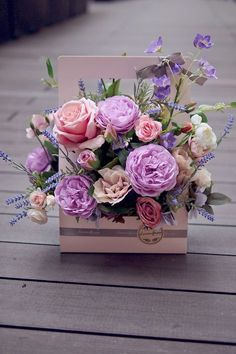 New birthday flowers roses bouquets floral arrangements 50 Ideas Purple Bouquets, Pink And Purple Flowers, Pink Roses, Flowers Roses Bouquet, Paper Flowers, Cut Flowers, Flower Box Gift, Flower Boxes, Amazing Flowers