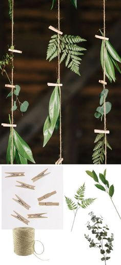 DIY greenery hanging backdrop with twine, clothespins, and faux greenery from http://afloral.com #diywedding